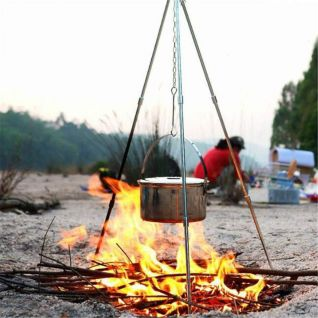 camping product pole Cooking Tripod Folding Campfire Grill Grate Stand Camping Fire Pit Tool for Bonfire Party Picnic BBQ
